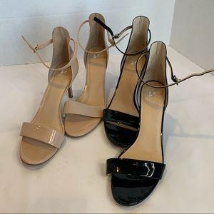 BP Nordstrom 2 pairs sz 12 heels/sandals black/tan
